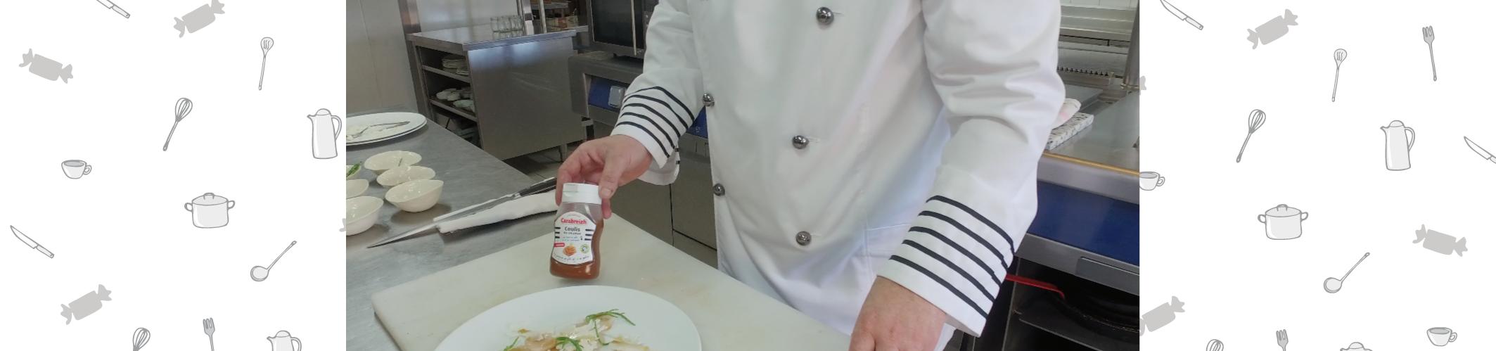 Carpaccio de Saint-Jacques au Coulis de caramel au beurre salé